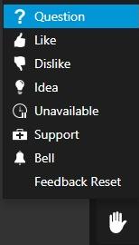 Opzioni del Menu Reazioni in 3CX WebMeeting.