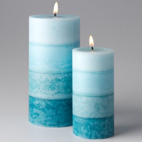 Layered pillar candle