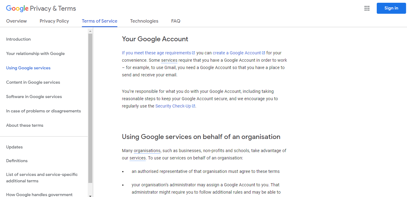 google terms and conditions examples