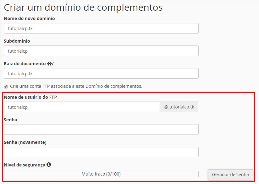 criar domínios de complementos ftp