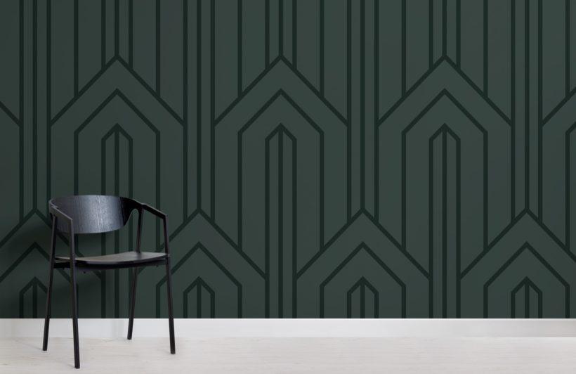 dark green geometric line art deco wallpaper mural