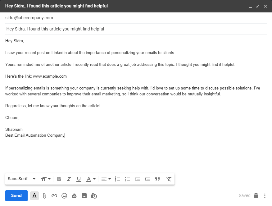 "example of ""hey, just thought you'd find this content helpful ""sales prospecting email template."