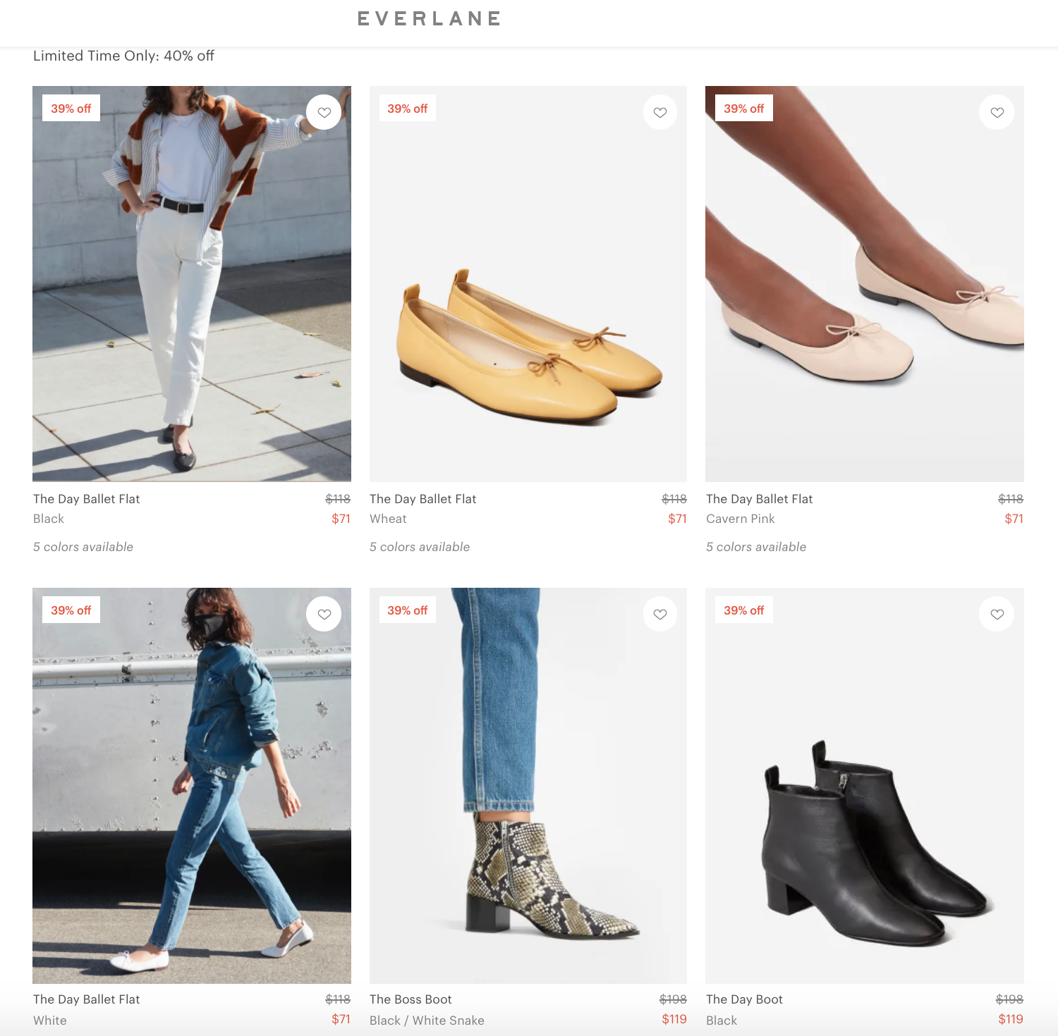 Everlane product listing page