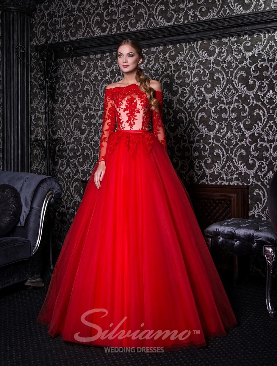 Пишне вечірнє плаття з мереживним верхом оптом від Silviamo