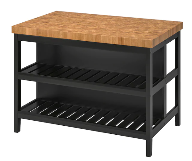 Black oak kitchen island for storage