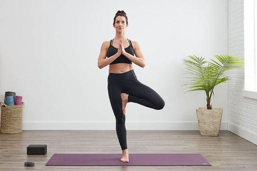 yoga xương khớp với tư thế cái cây