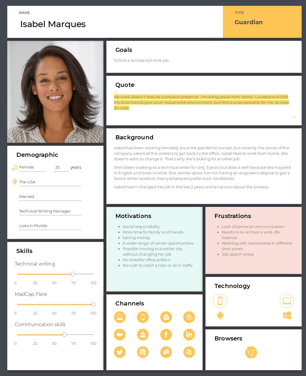 UXPressia's persona template