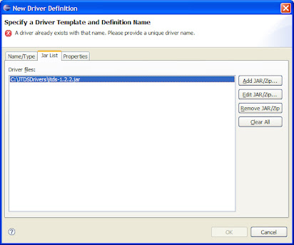 Could not load jdbc driver class net sourceforge jtds jdbc driver