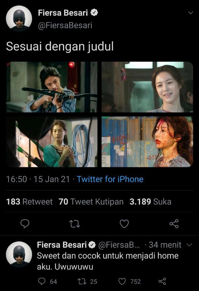Tweet Fiersa Besari yang mengagumi sosokGo Yoon Jung.