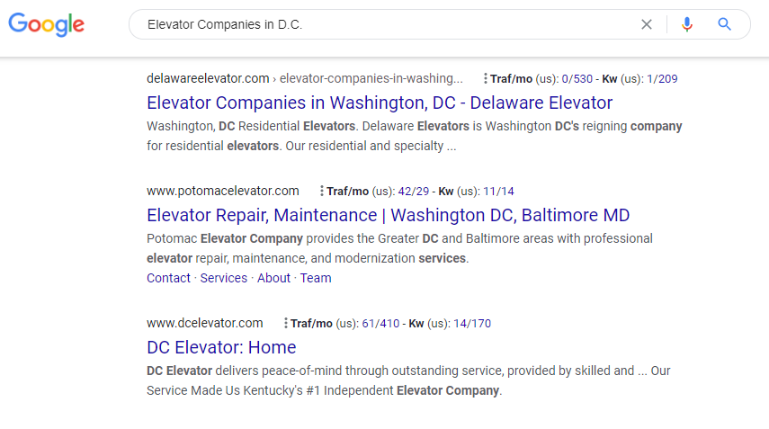 "Google search page result for ""Elevator companies in D.C"""