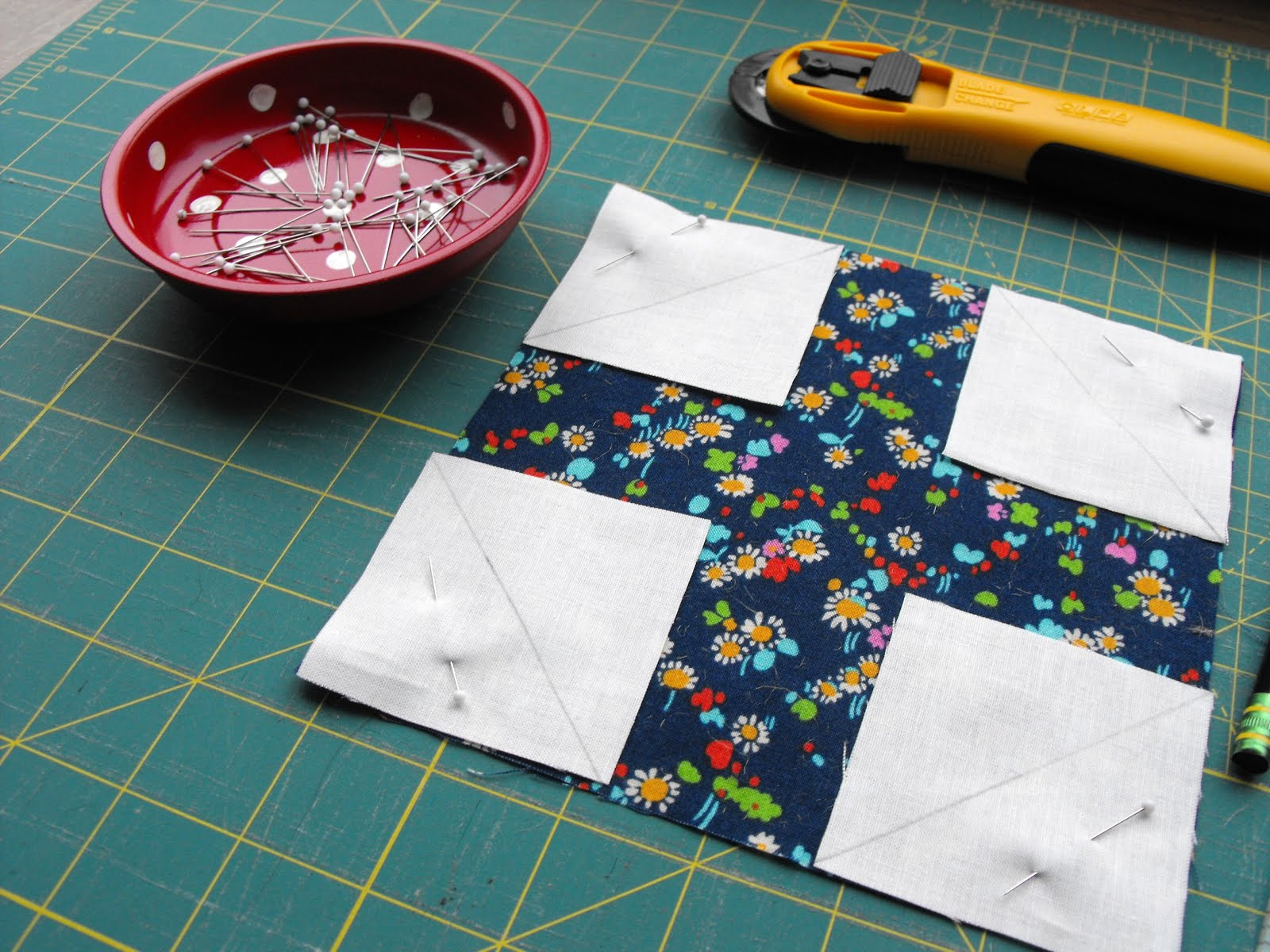 Pinning Fabric After Cutting - Snowball Quilt Block