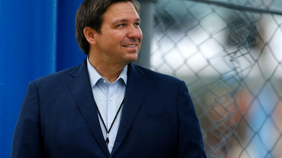 Florida Governor Ron DeSantis looks on prior to the NASCAR Cup Series Dixie Vodka 400 at Homestead-Miami Speedway on June 14, 2020 in Homestead, Florida.