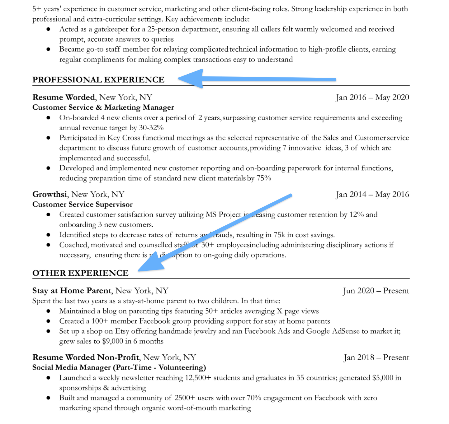 An resume with multiple experience section headings