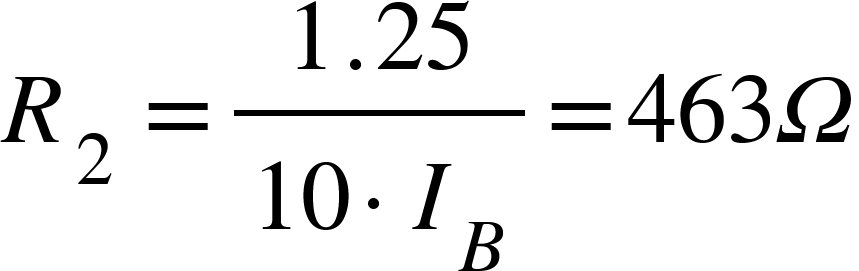 "<math xmlns=""http://www.w3.org/1998/Math/MathML""><msub><mi>R</mi><mrow><mn>2</mn><mo>&#xA0;</mo></mrow></msub><mo>=</mo><mfrac><mrow><mn>1</mn><mo>.</mo><mn>25</mn></mrow><mrow><mn>10</mn><mo>&#xB7;</mo><msub><mi>I</mi><mi>B</mi></msub></mrow></mfrac><mo>=</mo><mn>463</mn><mi>&#x3A9;</mi></math>"