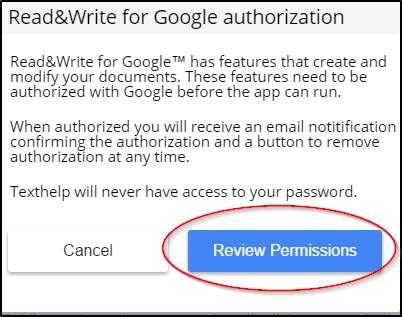 Read&Write for Google Chrome Google Review Permissions