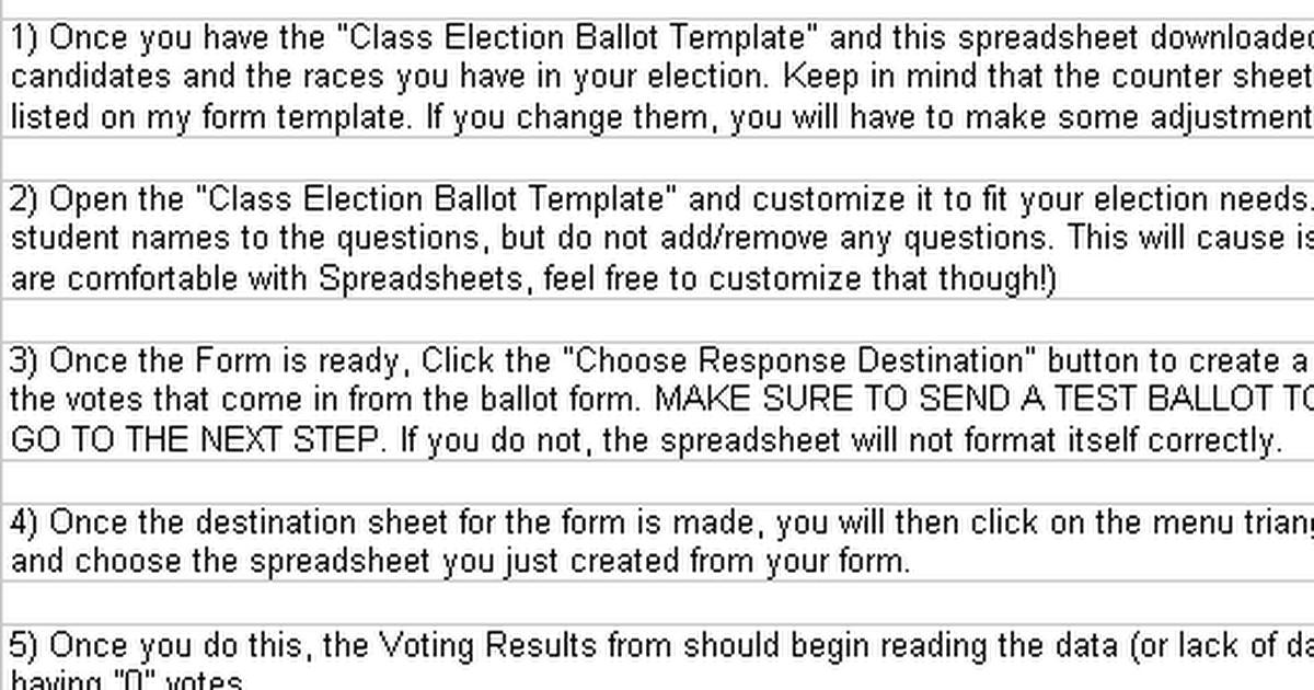 Class Election Ballot Counter - Google Sheets