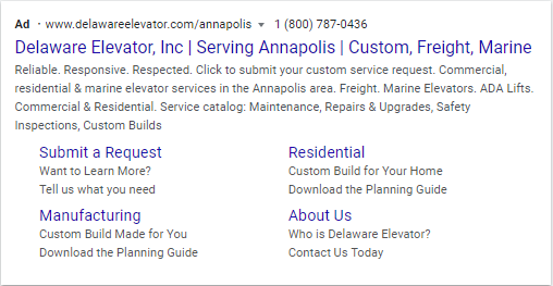 Google Search Result Ad- Delaware Elevator, Inc Serving Annapolis