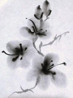 Resultado de imagen de tinta china aguada flores
