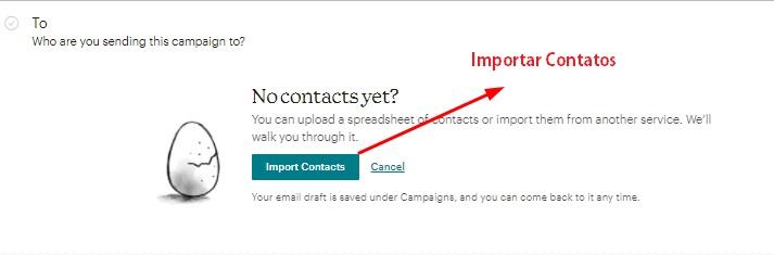 importar destinatários para usar contatos em campanha de email padrão