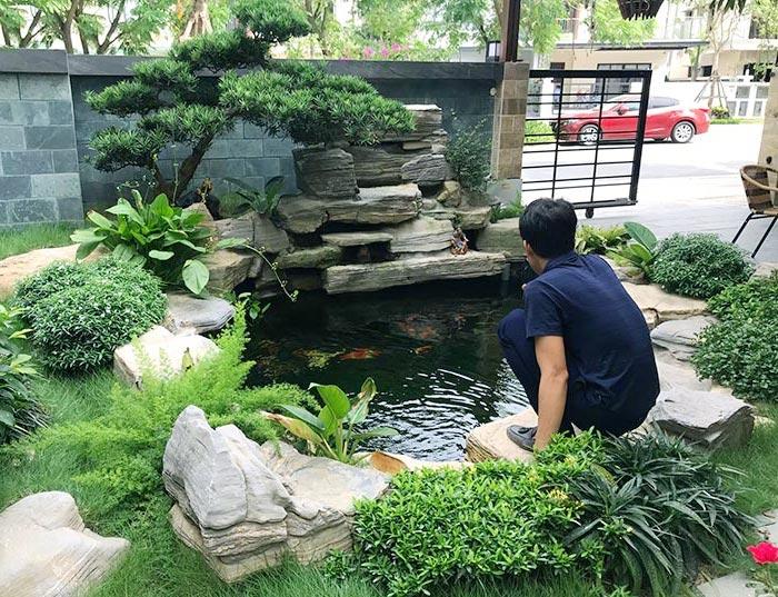 thiết kế sân vườn mẫu hồ cá koi
