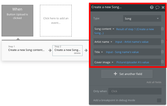 Bubble Workflow Tutorial How To Build Spotify clone Song creation