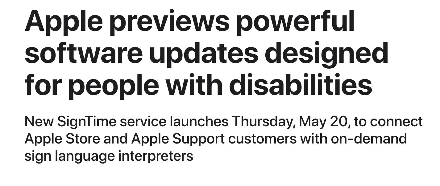 Press release headline example: Apple
