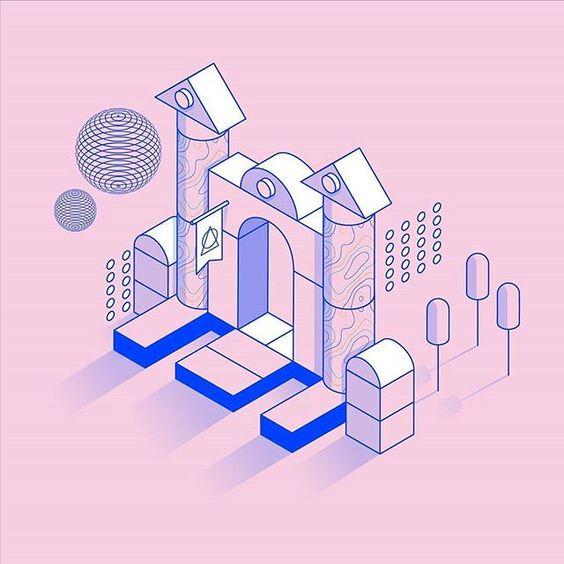 Ilustração criada com técnicas isométricas