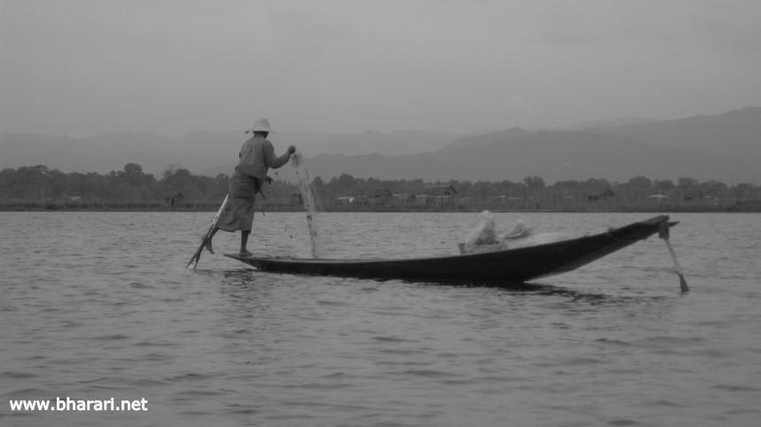 An Intha fisherman in Myanmar's Inle Lake