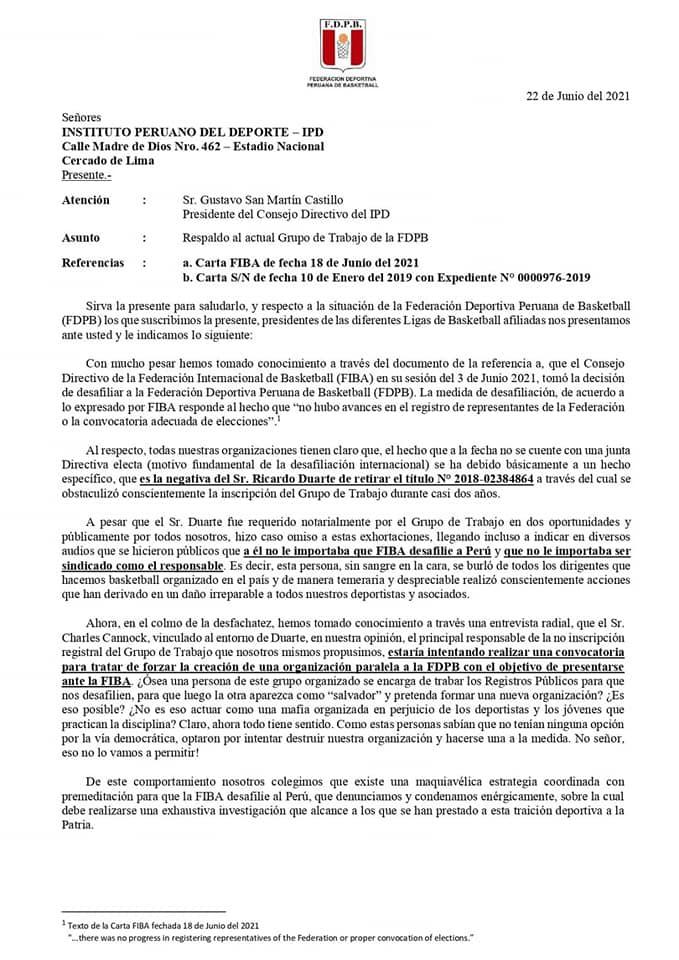 Varios dirigentes del interior del país emitieron un comunicado respaldando  la gestión de Edgar Chirinos, además de expresar su malestar frente a la desafiliación de la FIBA a la FDPB (Imagen: Facebook Federación Deportiva Peruana de Básquetbol)