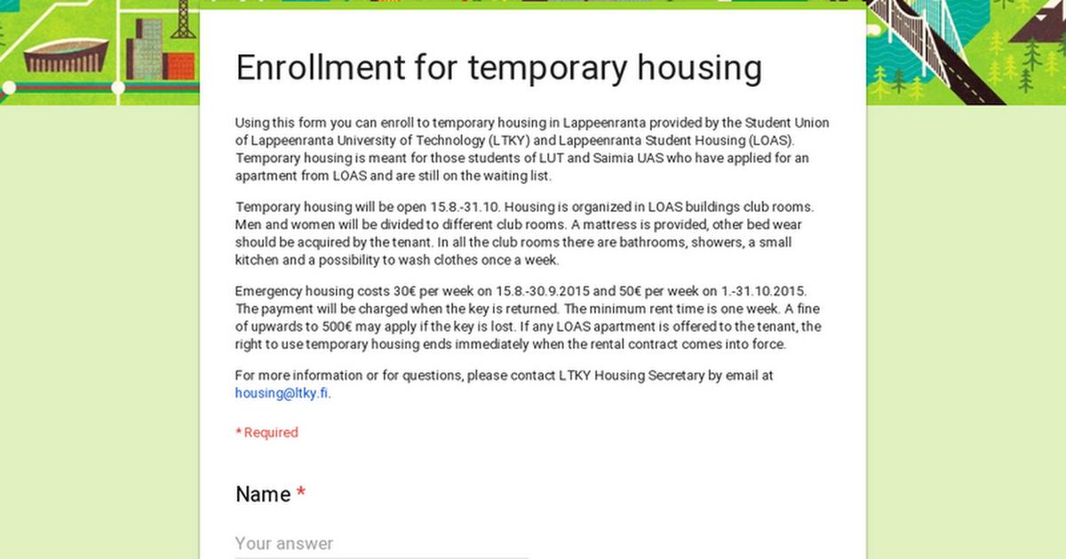 Enrollment for temporary housing