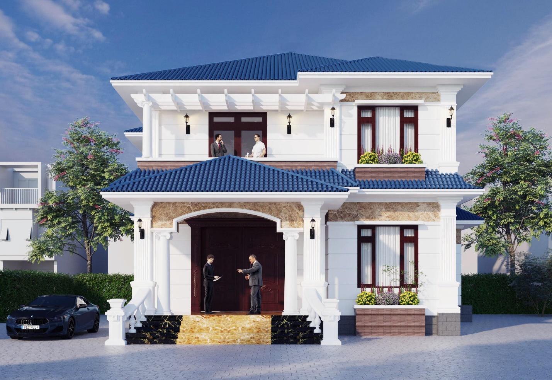 Biệt thự tân cổ điển với mái tôn xanh dương cao cấp