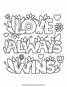 Love always wins valentine coloring page