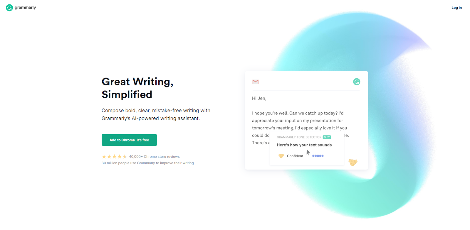 Grammarly's website homepage