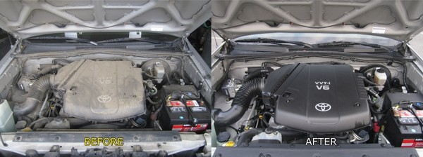 a car engine before and after cleaning