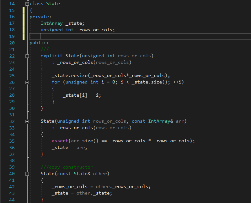 C++ constructors for class State in Solving the 8 puzzle problem using A* (star) algorithm