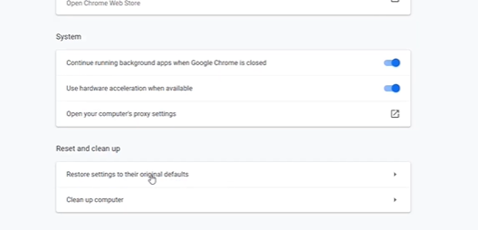 """scroll down to the bottom of the page and look for """"Restore settings to their original defaults"""" and click on it."""