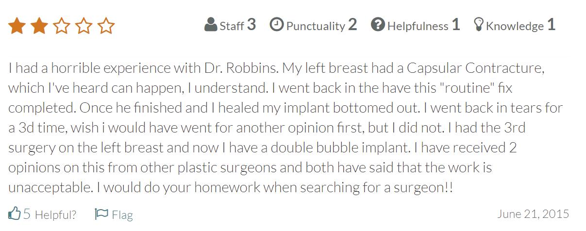 Robbins Plastic Surgery reviews