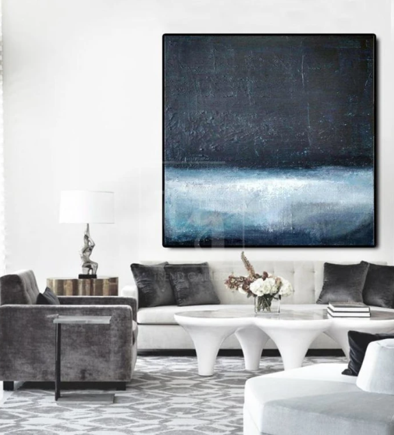 Large Painting Navy Blue