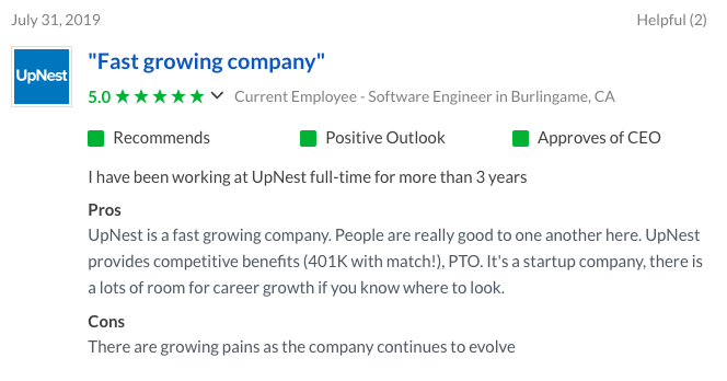 Upnest Employee Review