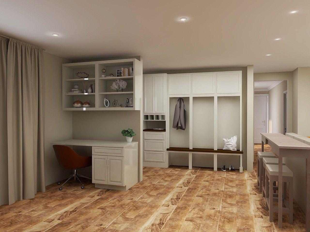 entryway mudroom storage unit built-in office desk space open concept ranch home renovation