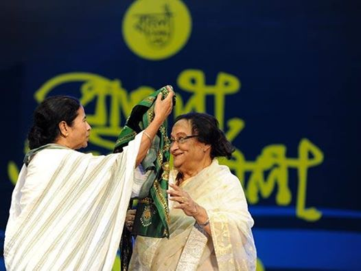 Photo: I am very sad  to learn that the legendary Firoza Begum has just breathed her last.    Her passing away will certainly create a huge void in the world of music and culture.    Firoza Begum's renditions in music are truly unforgettable.    She was like a bond that bridged the cultural world of Bangladesh and West Bengal.    We were honoured to confer on her our prestigious 'Sangeet Mahasamman' award in 2012.    In our first 'Agomoni' programme scheduled on 22nd September this year, we had decided to honour her with the State's highest civilian award, 'Banga Bibhusan'.    She had also agreed to come to Kolkata to receive the award.    But, now it's all over.    Hardly about 10 days back, we talked to each other. To me, her passing away is indeed a great personal loss. She used to treat me as a member of her family.    I remember, on the last occasion of our meeting, she was in tears while leaving and told me...'ar ki dekha hobe ?'    Today, these words keep ringing in my ears.    Firozadi, wherever you are, you will always be in our hearts.