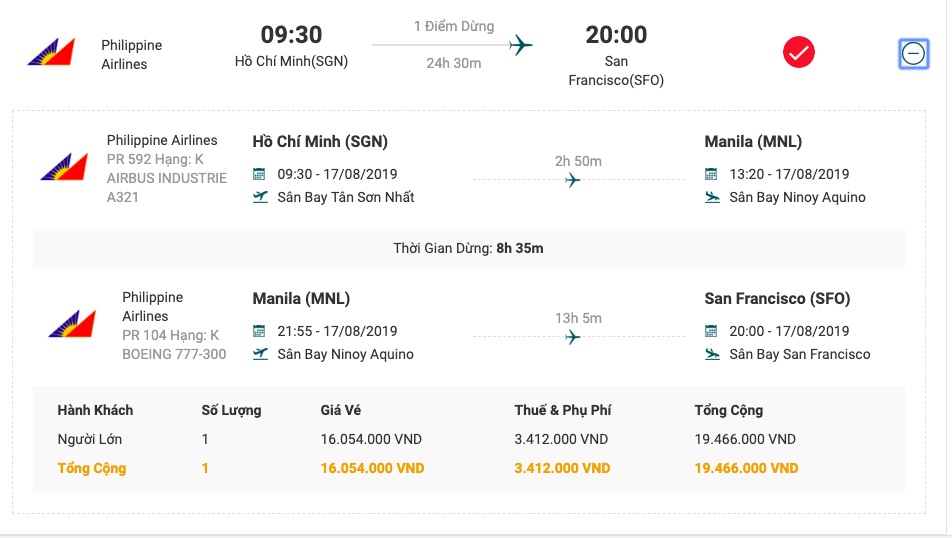 Vé máy bay từ Sài Gòn đi San Francisco của Philippines Airlines .