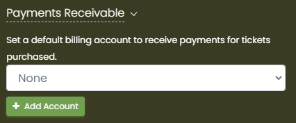 print screen of the Payments Receivable area where you can create an account for receiving payment through your calendar