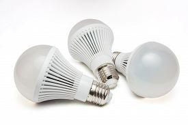 pic of led  - Led Light Bulbs On A White Background - JPG