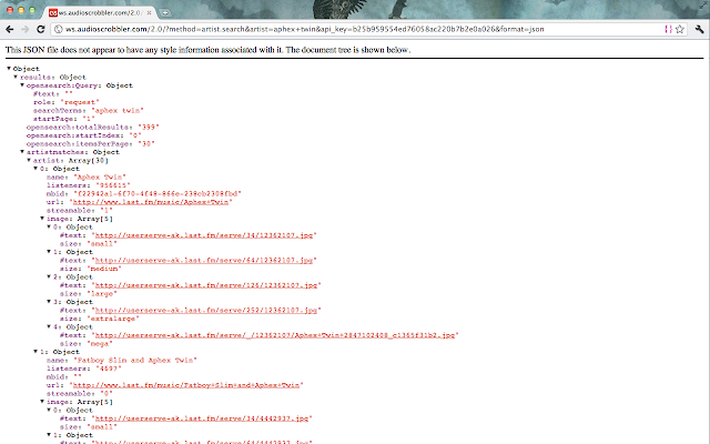 inspect json in your browser