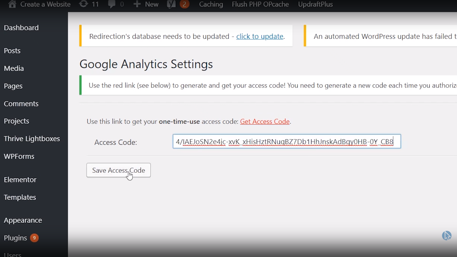 save wordpress google analytics tracking code