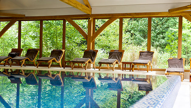 Indoor Swimming Pool and Lounge Chairs at Luton Hoo Spa Hotel