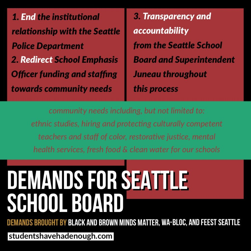 "Image description: Big letters read ""DEMANDS FOR SEATTLE SCHOOL BOARD"" across the bottom, followed by ""Demands brought by Black and Brown Minds Matter, WA-Bloc, and FEEST Seattle, studentshavehadenough.com. In a banner across the middle, reads ""community needs including, but not limited to: ethnic studies, hiring and protecting culturally competent teachers and staff of color, restorative justice, mental health services, fresh food & clean water for our schools"". The list of demands near the top read ""1. End the institutional relationship with the Seattle Police Department 2. Redirect School Emphasis Officer funding and staffing towards community needs 3. Transparency and accountability from the Seattle School Board and Superintendent Juneau throughout this process"""