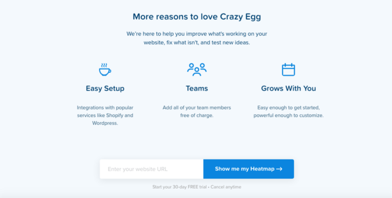 A screenshot of CrazyEgg's landing page emphasising their core benefits.