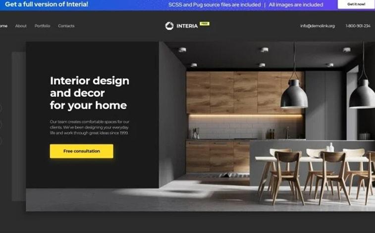 лучший бесплатный шаблон темы ботстрапа веб-сайт дизайн интерьера домашнее агентство